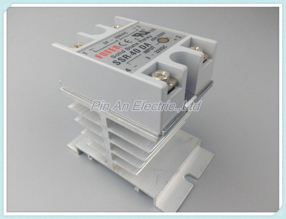 SSR40DA Hot Sale DC to AC Single Phase Solid State Relay SSR-40DA 40A 90-480V AC+Heat Sink