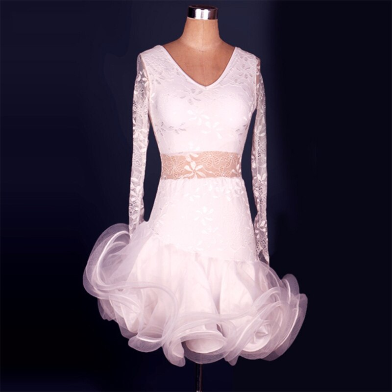 2018 Vestidos Brancos Vestidos de Salsa Latin Cha Cha/Rumbsa/Samba/Ballroom/Trajes de Dança Latina Para As Mulheres/ meninas Robe Danse Latine Dancewear
