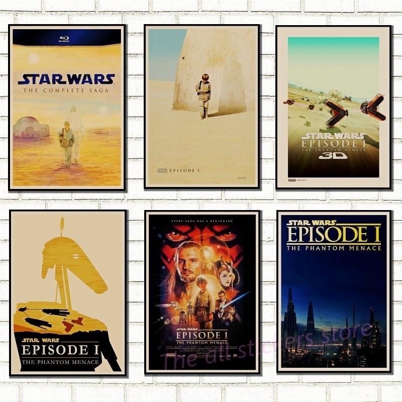 Классический постер Звездных войн, винтажное искусство, классический семейный декор, фильм Звездные войны, фантомная опасность, плакат из крафт-бумаги, стикер на стену 5004