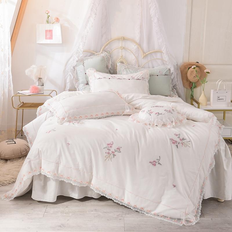 elegant bedding set king queen full size 100% cotton bed skirt set embroidery duvet cover set white pink bed set flat sheet