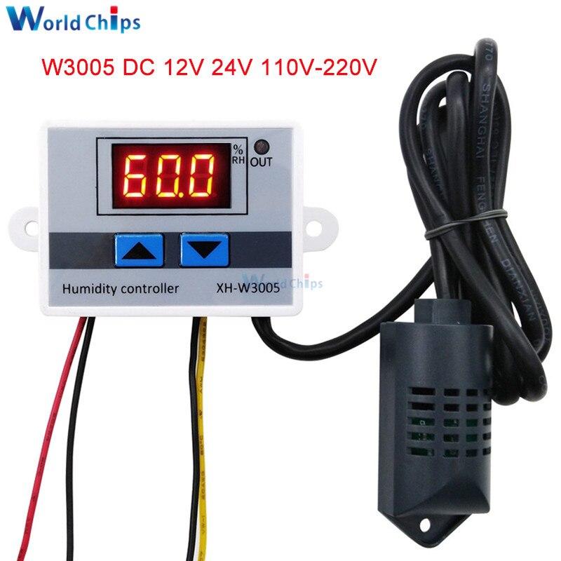 XH-W3005 controlador Digital de humedad W3005 AC 110V 220V 12V 24V higrómetro interruptor de Control de humedad higrostato con Sensor de humedad