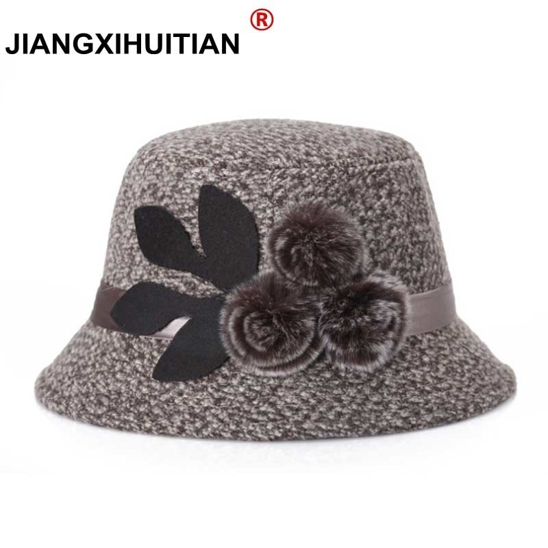 Sombreros elegantes de fiesta para mujer, sombrero de mujer, sombrero de invierno cálido para mujer, sombreros cálidos de lana sintética para invierno, gorros 2017, 57-58cm, Regalo para mamá