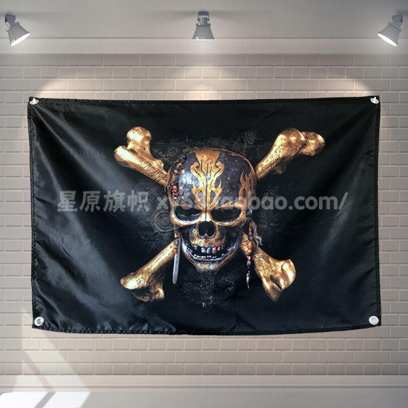 Bandera Pirata Calavera cartel película dibujos animados decoración del hogar colgando bandera 4 Gromments en esquinas 3 * 5FT 144cm * 96cm