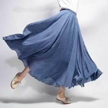 Danjeaner Women Linen Cotton Long Skirts Elastic Waist Pleated Maxi Skirts Beach Boho Vintage Plus Size Summer Skirt Faldas Saia