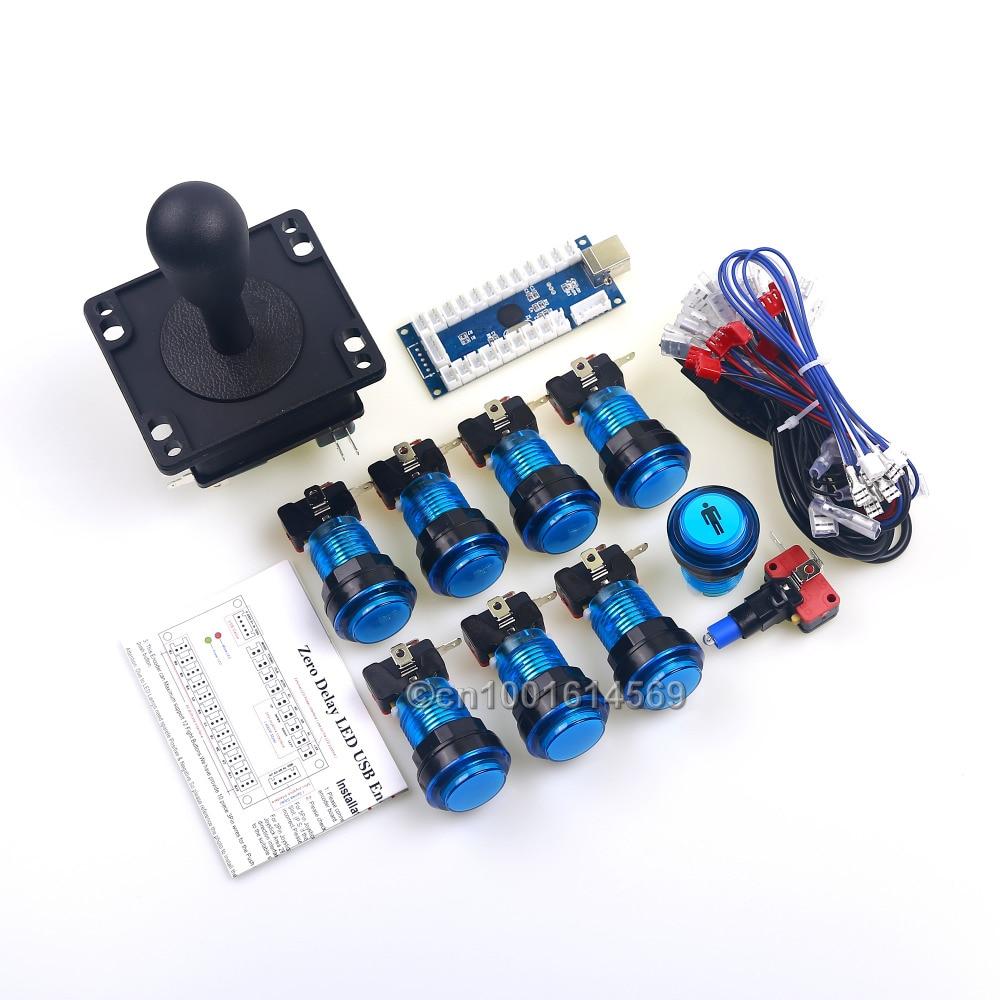 Arcade MAME Kit de bricolaje para juegos de PC USB a Arcade feliz Joystick 30mm de empuje con LED botones con microinterruptor 1 jugador LED botón de inicio