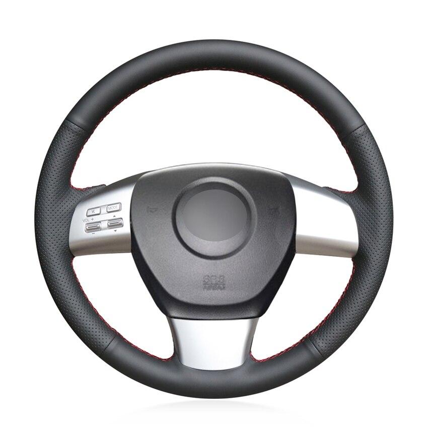 DIY protector de cuero negro de microfibra para volante de coche para Mazda 6 (US) 2009-2010 Mazda 8 2011-2015 CX-9 CX9 2007 2008