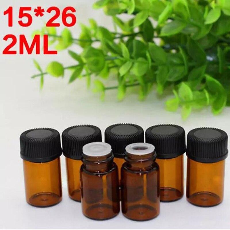 ¡Oferta! frascos de vidrio pequeños de 2 ml, botellas de muestra de vidrio de aceite esencial ámbar con reductor de orificio y tapa negra 1000 unids/lote