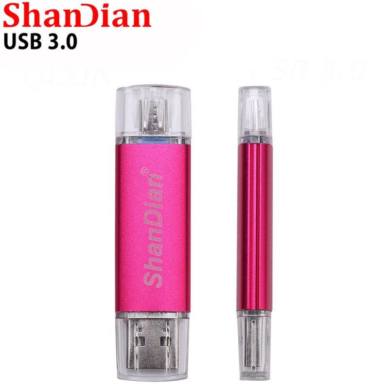 SHANDIAN, venta al por mayor, USB 3,0, unidad Flash USB para teléfono inteligente, OTG Micro memoria USB stick, U Disk 4G/8G/16G/32G/64G, memoria de regalo