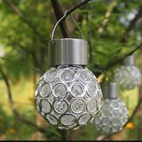 Solar LED Hanging Light Lantern Waterproof Hollow Out Ball Lamp for Outdoor Garden Yard Patio PAK55