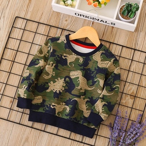 Dulce Amor Kids Camouflage Hoodies 2018 New Autumn Sweatshirts Fall Print Dinosaur Pullover Tops Boys Clothing Drop Shipping