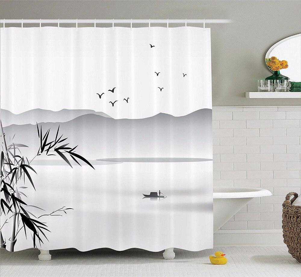 Высокое качество Искусство занавески для душа Zen бамбуковые озера и лодки Горные Птицы ванная комната Декоративные Современные водонепрон...