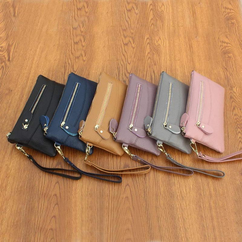Bolso de mano para teléfono inteligente KANDRA, cartera fina de cuero genuino, cartera de mano para teléfono móvil, cartera para mujer, tarjetero, monedero