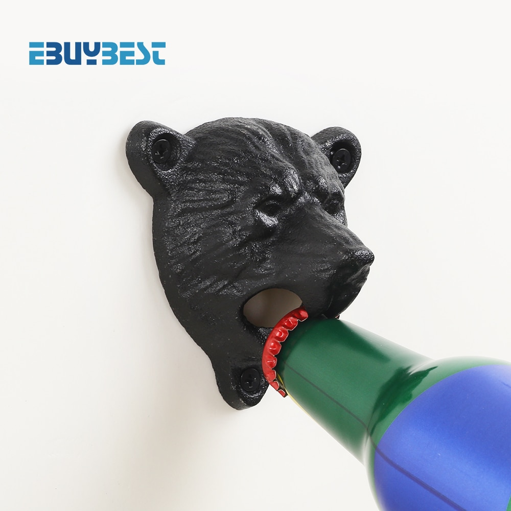 Открывалка для бутылок чугунная настенная открывалка для бутылок голова медведя настенный открывалка для бутылок Стеклянная Крышка для бутылок открывалка для пива кухонные инструменты