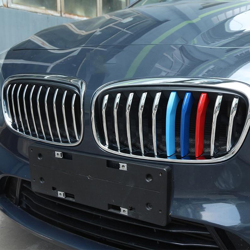20 Uds tira de ajuste de malla delantera pulida de cromo ABS plateado para BMW Serie 2 218i modelo deportivo F45 F46 2015-2017 accesorios para coche