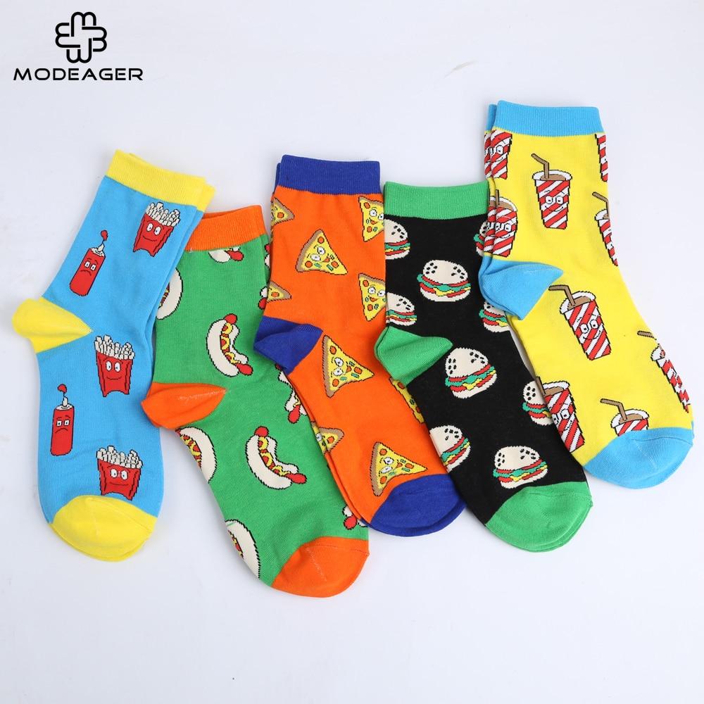 Modeager Cartoon Cute kawaii French fries Hamburger Pizza Sausage Food Cotton Women Socks Korea Soft Socks for ladies EU35-44