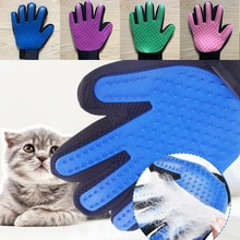 Escova azul luva para gato animal escova de limpeza dedo luvas de silicone para gatos cães pet removedor de pêlos luva gato grooming