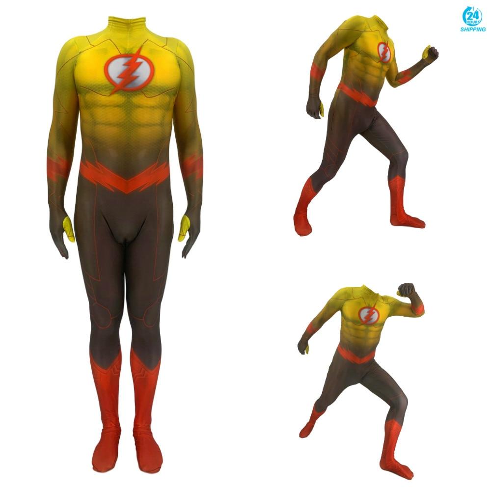 Impressão 3d adulto crianças anime o flash cosplay traje zentai bodysuit terno macacões masculino traje
