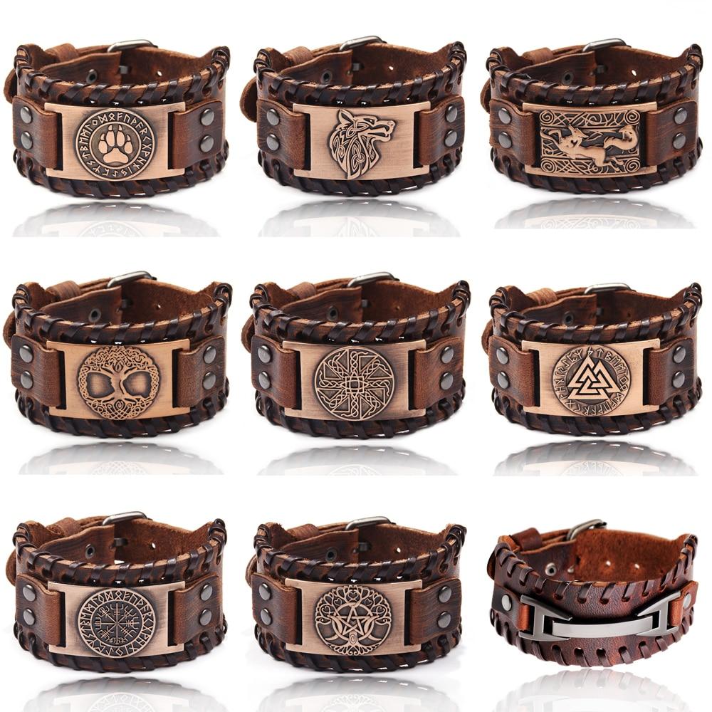 Charm Wide Leather Bracelet Men Punk Braided Rope Alloy Cuff Bangle Male Wristband Viking Bracelet M
