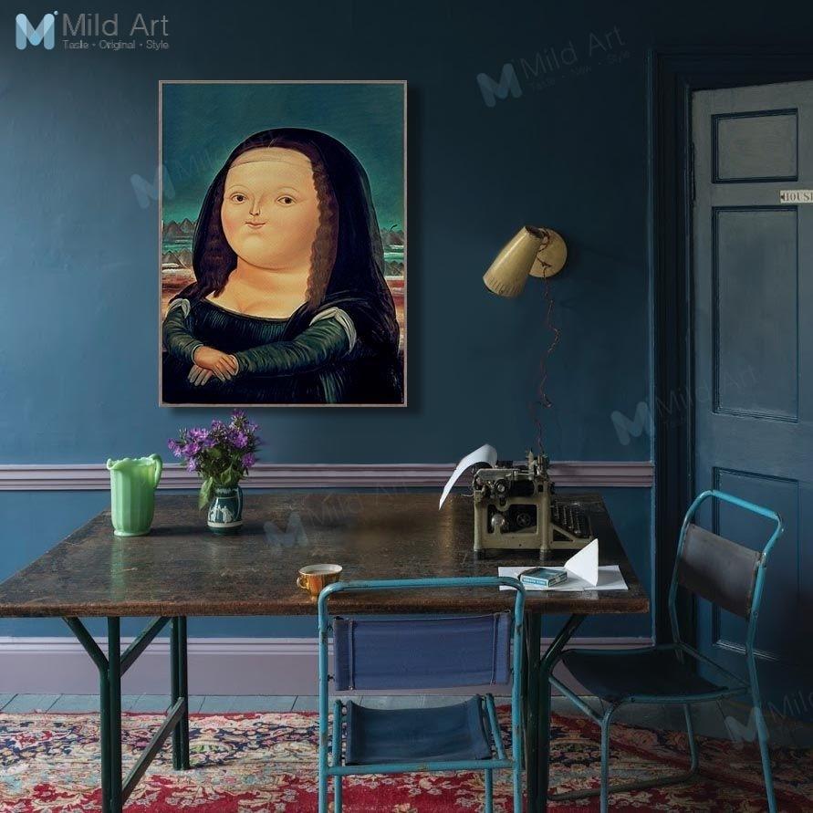Pósteres e impresiones de Mona Lisa y Chubby de dibujos animados Kawaii, pared de salón nórdico, imágenes artísticas para decoración de bares en casa, pinturas famosas en lienzo