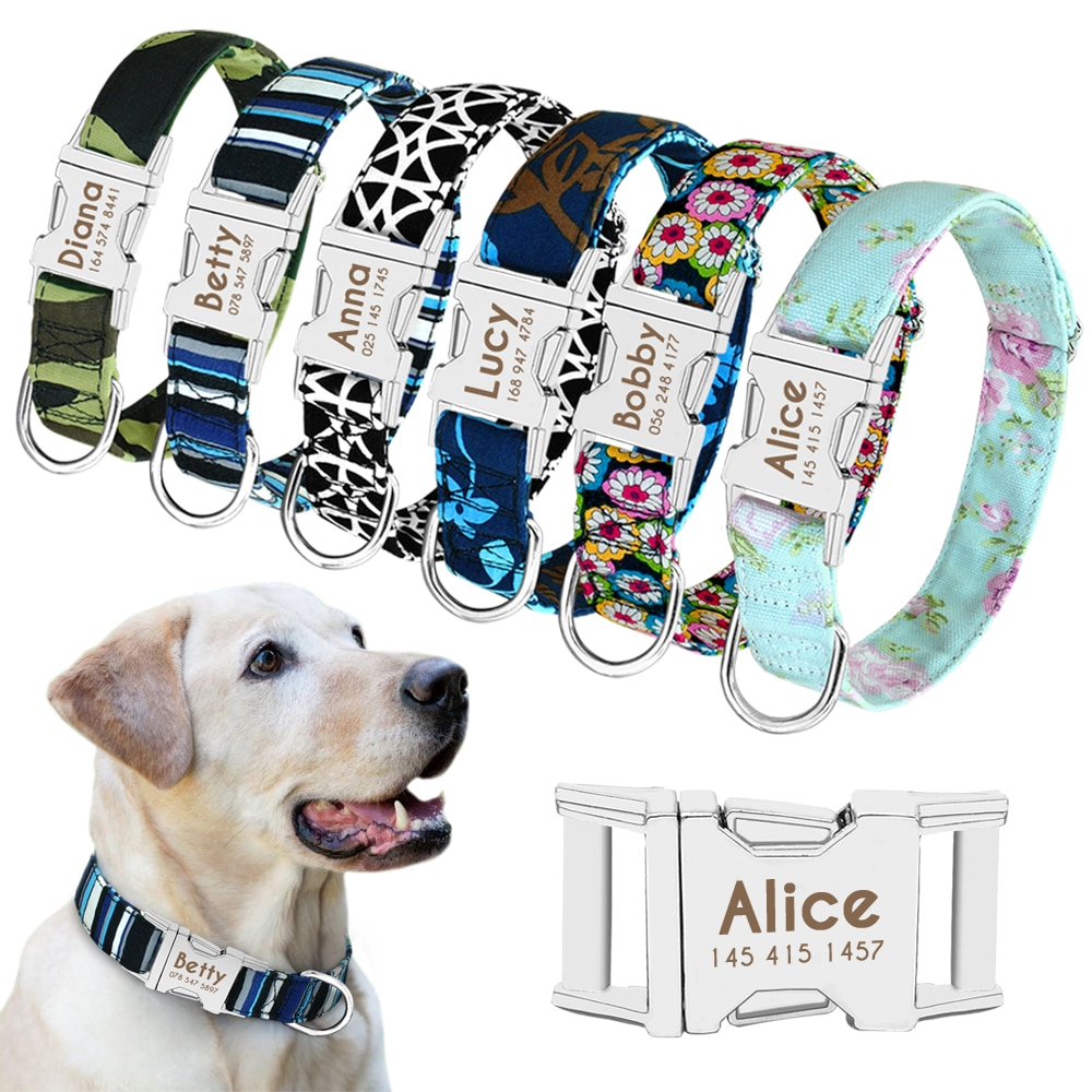Dog Collar Personalized Nylon Pet Dog Tag Collar Custom Puppy Cat Nameplate ID Collars Adjustable For Medium Large Dogs Engraved personalized dog collar nylon print dog collars customized puppy pet collar engraved name id for small medium large big dogs pug