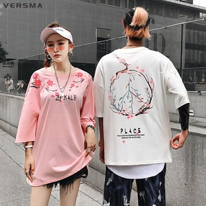 VERSMA Hip Hop Streetwear Oversized Loose T-shirt Men Summer Korean Harajuku Ulzzang Deer Cherry Printed Tshirt Men Dropshipping