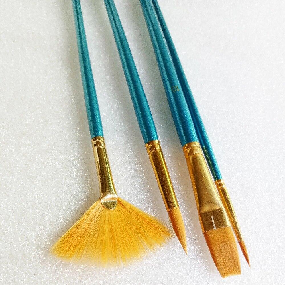 Barra azul pincel de pintura con cerdas de nailon Set Flabellum punta puntiaguda artista Gouache acuarela pintura al óleo de acrílico suministros 4 unids/lote
