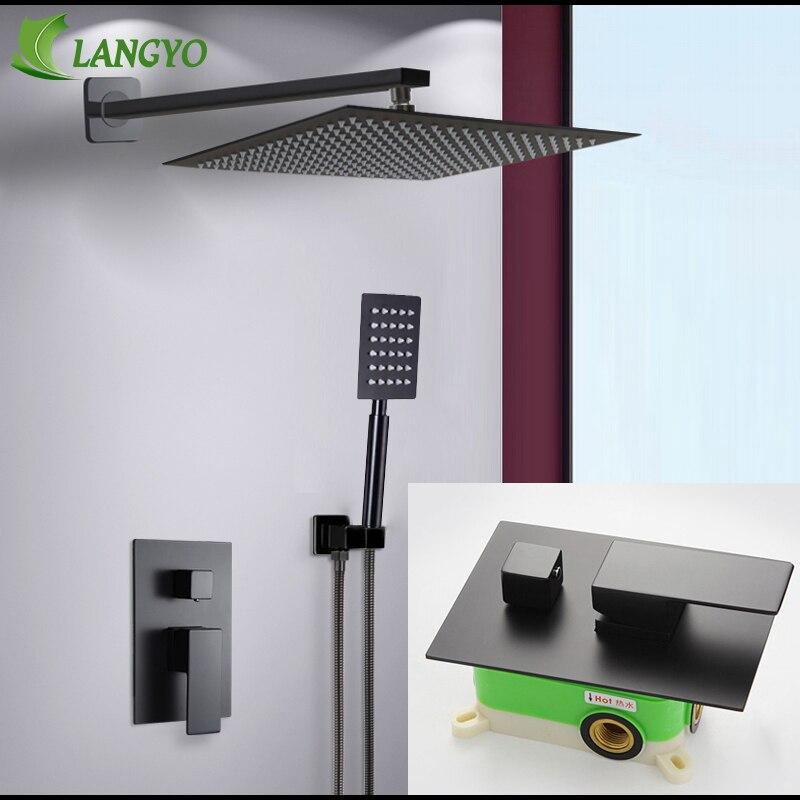 "Langyo bronze preto banho de chuveiro Faucets8-12 ""chuva chuveiro do banheiro conjunto chuveiro desviador válvula misturadora sistema fixado na parede"