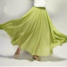 Mori Girl Floor-Length Long Skirt Linen Large Hem Literature Fresh Linen Plus Size Women Pleated Casual Skirt 2019 aa680