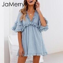 JaMerry Vintage feste blaue rüschen frauen mini kleid kurzarm lose beiläufige sommer kleid Hohe taille sexy kurze kleider vestido