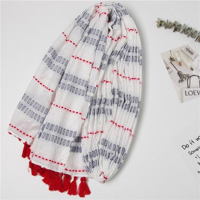 الأزياء أحدث النساء الهندسة نمط شرابة القطن وشاح كتلة نمط شالات الحجاب 10 قطعة/الوحدة