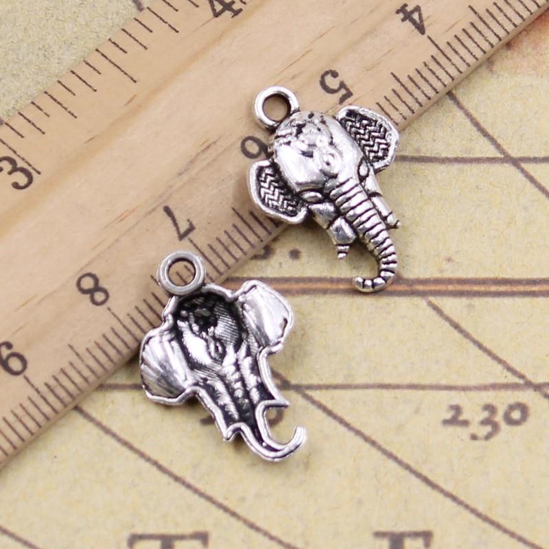 12 unids/lote de dijes de cabeza de elefante 22x16mm colgantes tibetanos joyas antiguas para hacer manualidades DIY para collar de pulsera