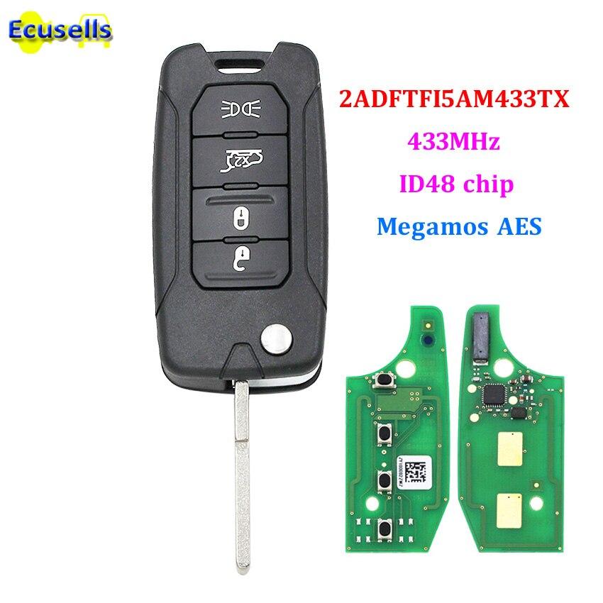 Mando a distancia plegable de 4 botones fob 433MHz ID48 Megamos AES chip para Jeep Renegade 2016-2018-2ADFTFI5AM433TX SIP22 hoja sin cortar