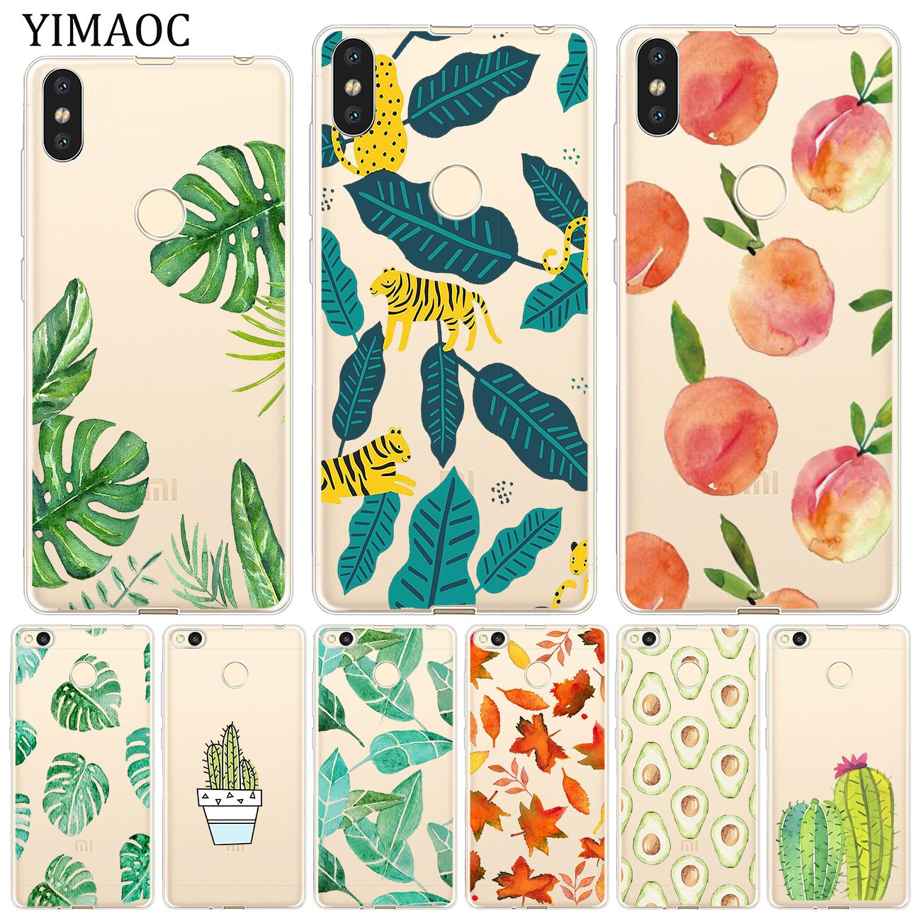 YIMAOC Tropical Succulents Leaves Soft Case for Xiaomi Mi 9 9T CC9 CC9E A3 Pro 8 SE A2 Lite A1 MiX 2