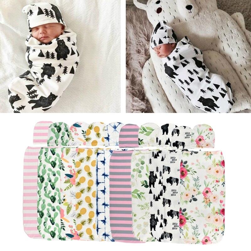 Детское одеяло + Кепка для новорожденных, хлопковые пеленки, мешок для постельного белья, Sep7-A