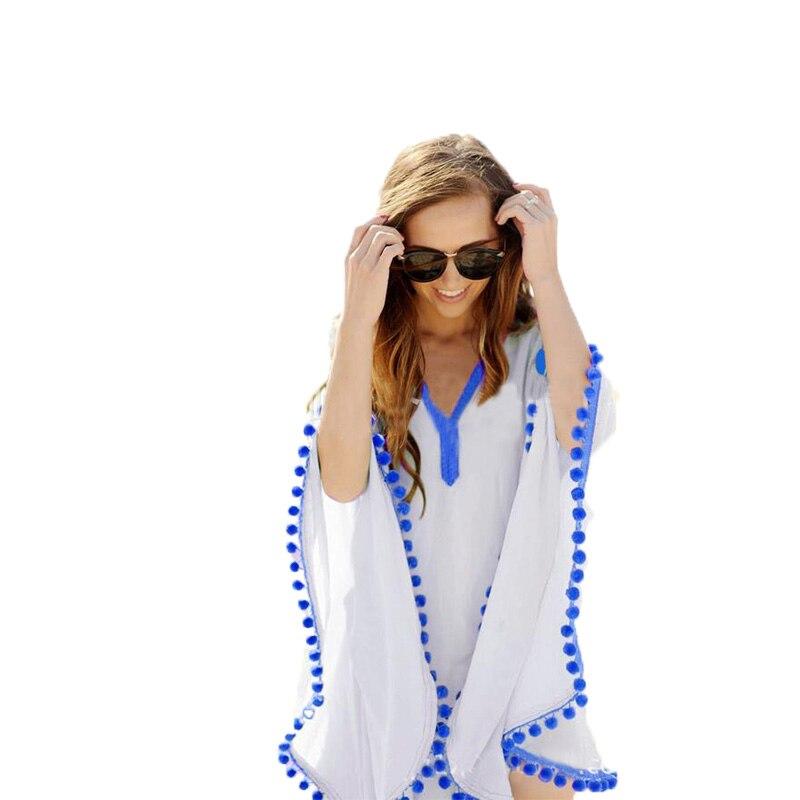 2015 estilo europeo encaje bolas pequeñas costura playa Bikini gasa blusa Smock cuello pico suelta playa ropa Tops blusas BH609