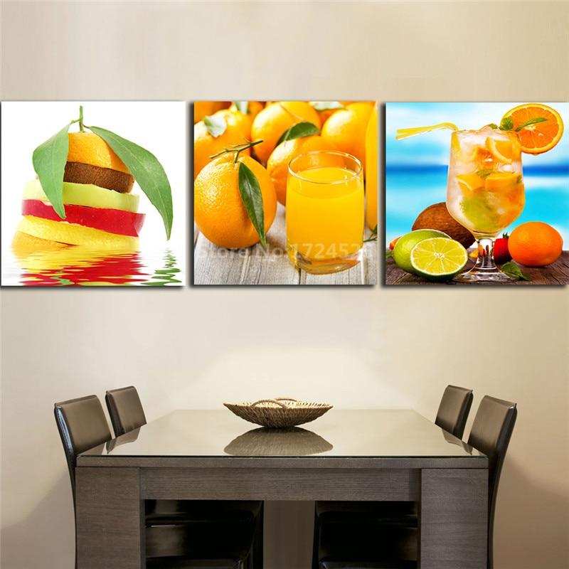 3 paneles de pinturas naranjas para zumos y bebidas para la decoración de la pared de frutas, lienzo moderno de pared artística a precio barato sin marco
