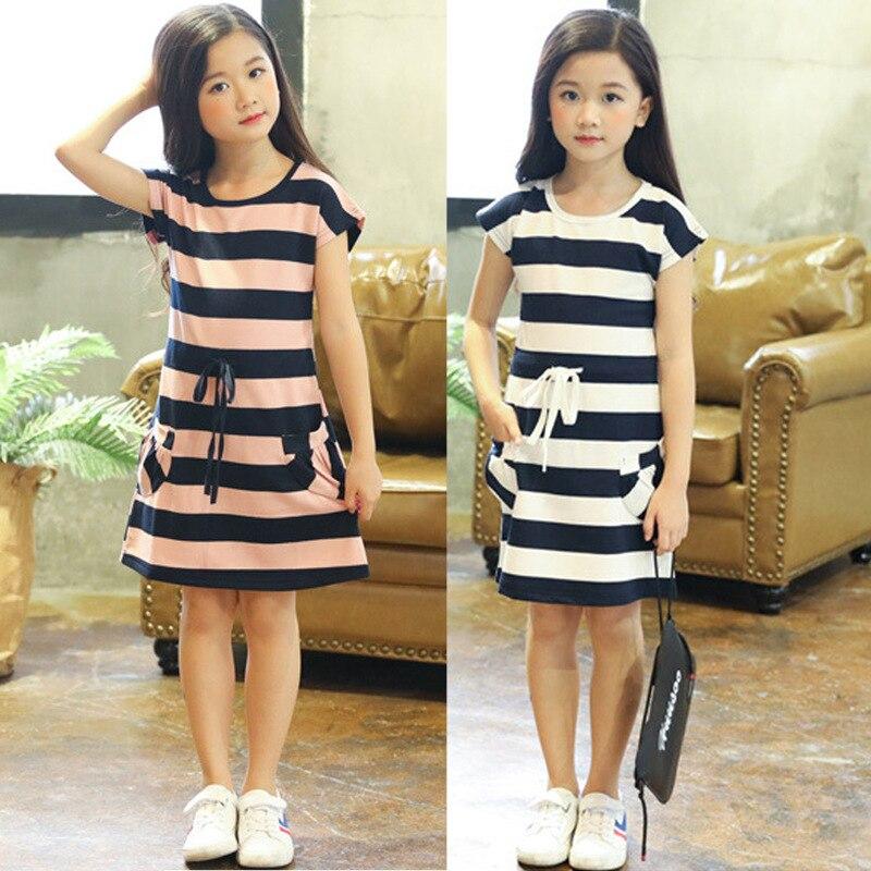 Kids Dresses for Girls Cotton Striped Casual Girls Summer Dress 3 4 5 6 7 8 9 10 11 12 Year Children Toddler Teen Clothing