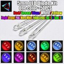 50pcs 12 couleurs 5mm Diode LED Kit 3V ensemble chaud blanc vert rouge bleu jaune Orange violet UV rose rvb rapide lent infrarouge IR