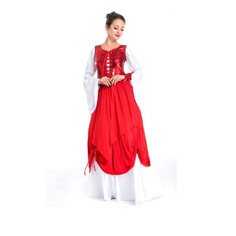 Barato neve branco vestido de princesa mangas compridas vermelho sexy adulto fantasia traje de halloween m4732