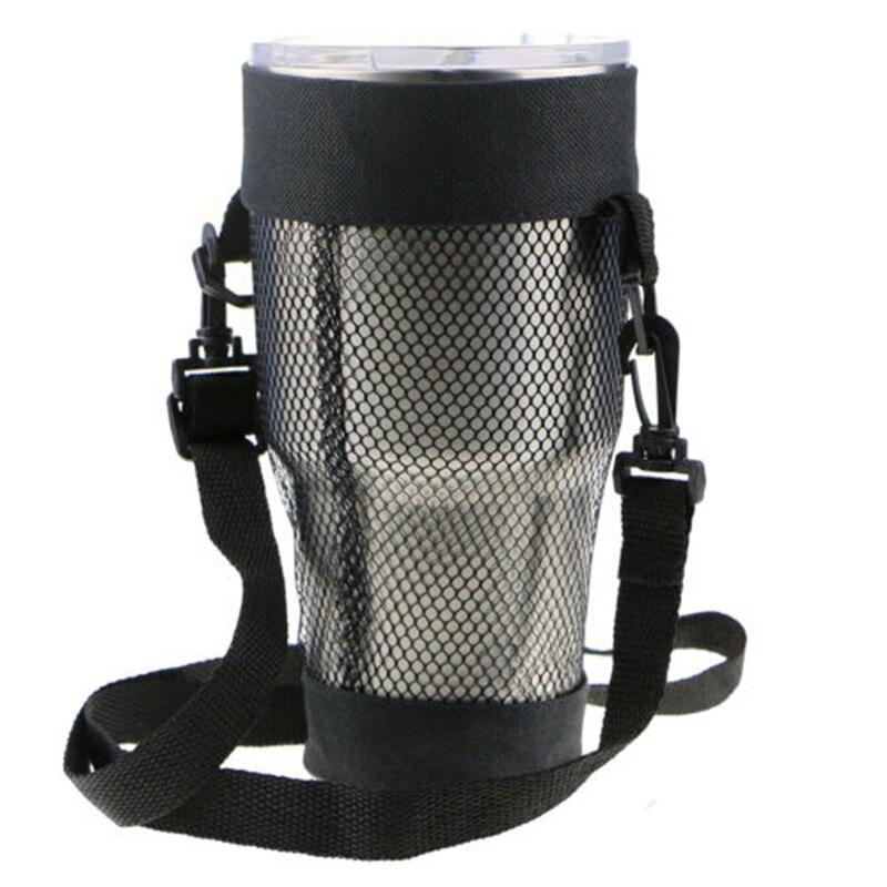 Vaso para actividades con tapa aislada, botella de agua negra, bolsa para exteriores, taza, red de malla, portátil, gran oferta, nuevo 1 unidad
