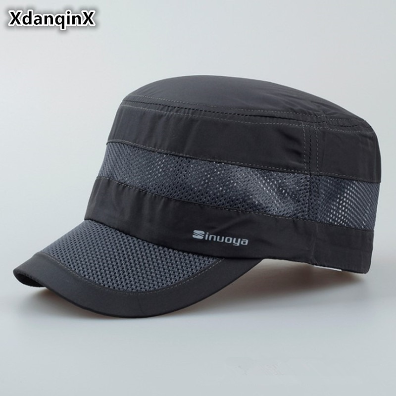 XdanqinX 2019 nuevo estilo de hombres adultos sombreros militares verano transpirable ajustable cabeza tamaño gorra plana al aire libre Visor de ocio sombrero
