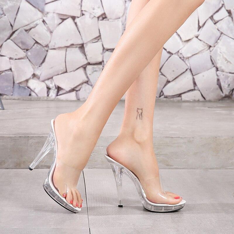 Zapatillas de mujer de PVC 2019, sandalias sexis de tacón alto a la moda de 12CM para mujer, zapatos de tacón claros, zapatillas de punta abierta transparentes para mujer, zapatos de fiesta