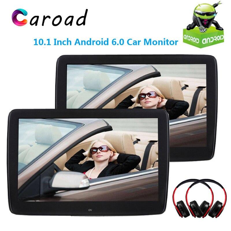 Caroad 2 uds 10,1 pulgadas Android 6,0 coche Monitor reposacabezas Pantalla táctil IPS 1080P Video con WIFI/USB/SD/Bluetooth/FM/altavoz/juego