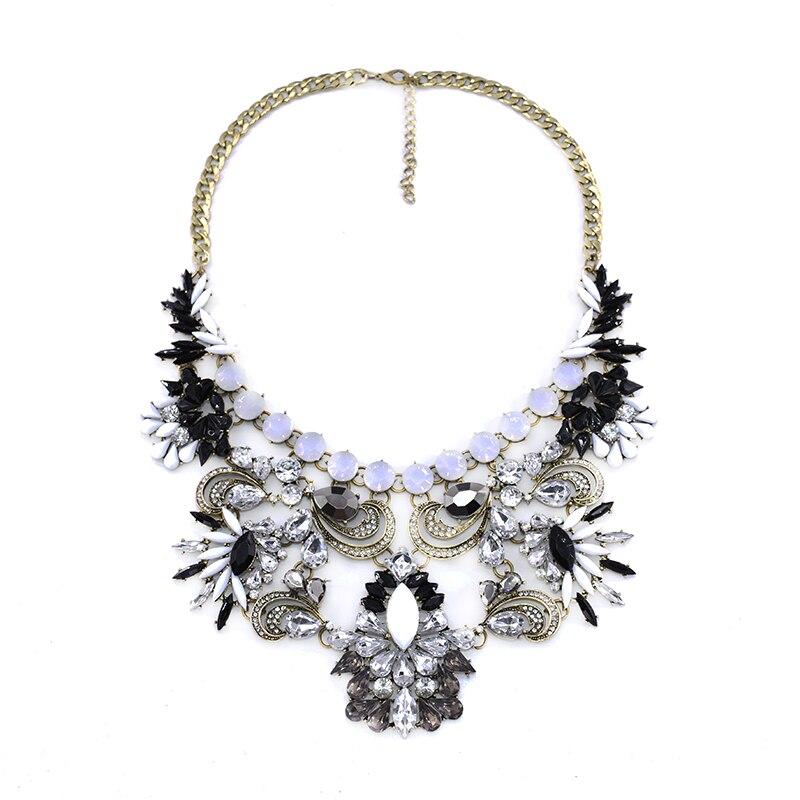 PPG&PGG Black Stones Bijoux Jewelry fashion Women Charm Rhinestone Chunky Statement Necklace Pendants