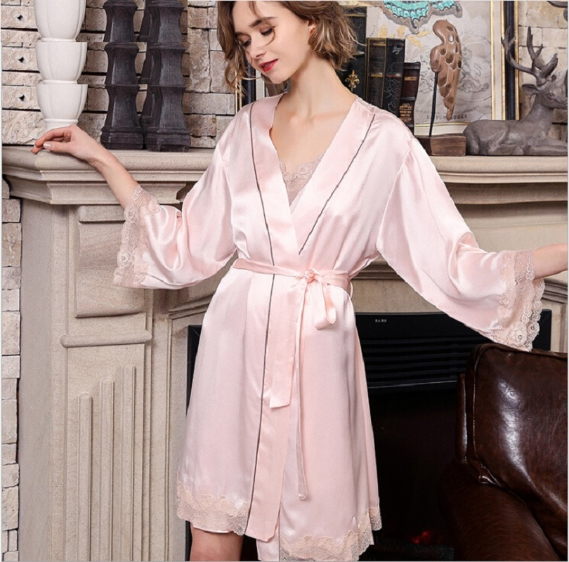Silk Sleep Robe Gown Sets Sleepwear Pink Summer 2019 Woman Bath Robe Sets 2 Piece Sexy Lace 100% Silk Stain  Nightwear Homewear