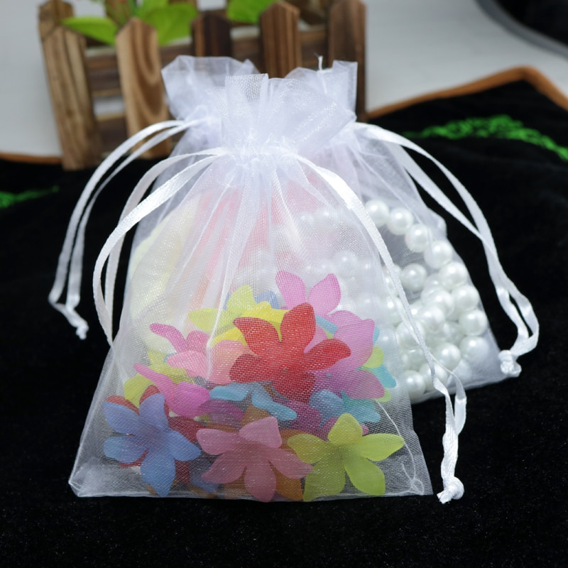 100 pçs/lote 5x7 cm Sacos de Jóias de Embalagem Cor Branca Pequeno Sachê Sacos de Organza Drawable Sacos Do Presente de Casamento de Organza
