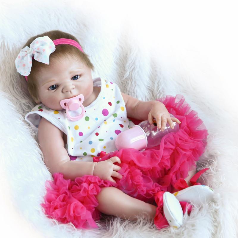 Nicery, 22 дюйма, 55 см, кукла Bebe Reborn, жесткая силиконовая игрушка для мальчиков и девочек, Кукла Reborn, подарок для детей, белая шапка, красное платье...