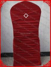 Couvre-chaises de chaise en Lycra et Spandex   Couvre-chaise rouge bordeaux à volants avec bracelet/ceinture et boucle et épingle en diamant rhombique pour décoration de maison et de mariage, NO.38