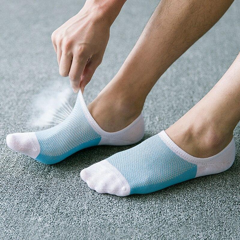 Spring and summer new mesh breathable stealth boat socks Men 's stripes silicone non - slip socks