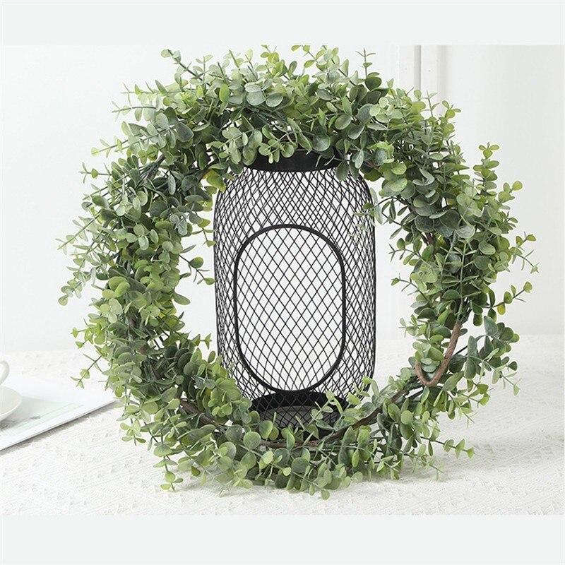195CM Faux eukaliptusowe girlandy sztuczne liście roślin winorośli zieleni Garland ślub tło stół wystrój domu Arch